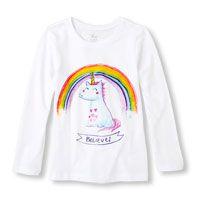Long Sleeve 'Believe' Cartoon Unicorn & Rainbow Graphic Tee