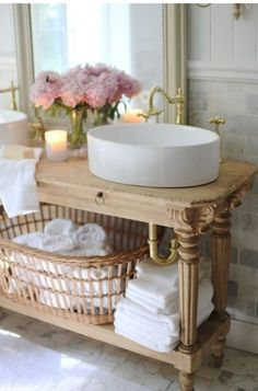 Brass & light wood vanity idea