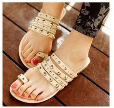 2013 new rivets flat-bottomed Roman sandals and slippers British retro [LMX130513016] - $27.26 : aoppy online store