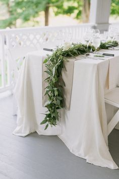 Wedding table garland - The Perfect Summer Wedding in Maine – Wedding table garland Wedding Table Garland, Bridal Table, Wedding Table Decorations, Wedding Table Settings, Wedding Centerpieces, Wedding Bouquets, White Bouquets, Luxe Wedding, Wedding Linens