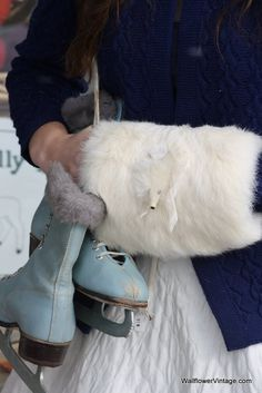 fur muff and vintage skates