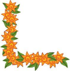 Latest Orange Tropical Flowers Page Border Design sadiakomal