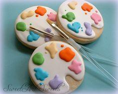 Art cookies  Paint palette cookies  1 dozen by SweetArtSweets, $42.00