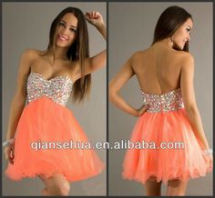 Cute corset very puffy short coral prom dresses - Poofy coral ...