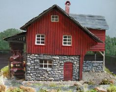 Model Train Building ~ Vintage Saw Mill with Water Wheel