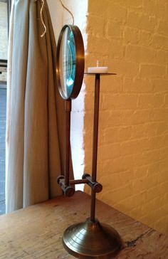 "SHOP :: Vintage Brass Adjustable Magnifying Glass Candle Stand :: $160 | valaer @ Etsy.com :: [16.75""h] :: GORGEOUS!"