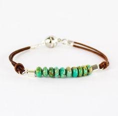 leather ends beaded bracelet finished