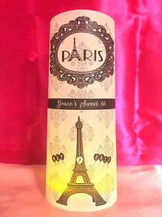 Personalized Eiffel Tower Paris Theme - w/ Damask Background & Balloons - Birthday Luminaries Table Centerpieces Party Decor / Decorations for Sweet 16 & More