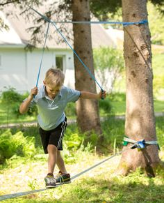 "The Fun Line is a slackline designed for beginners, which means it's great for younger kids. The ""help line"" installed above lets them work on their balance without falling off!"