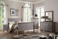 Louis Philippe III Antique Grey Beds 4 Pcs Bedroom Sets Description : The Louis Philippe III collection features KD headboard, footboard, hand selected veneers and antique hardware.Available in black,