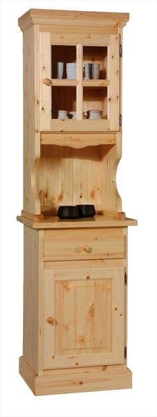 Cristalliera un anta, in legno di pino massello. Adatta per gli ambienti piccoli ma con un tocco di rustico, proposta in colore di finitura naturale. www.arredamentirustici.it