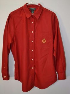 Lauren Ralph Lauren Women's Red Long Sleeve Button Down Shirt Top Blouse Size 16 #RalphLauren #ButtonDownShirt #Career