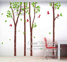 Vinyl wall decals tree forest wall decals kids wall by cuma, $87.00