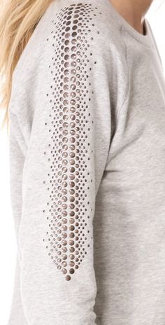 sweet stud-work for a refashion: Haute Hippie Embellished Sweatshirt in Gray (grey) - Lyst Redo Clothes, Fashion Details, Fashion Design, Haute Hippie, Hippie Outfits, Sweatshirt Dress, India Fashion, Refashion, Modest Fashion