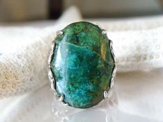 NEW DESIGNER E STERLING SILVER BIG GREEN TURQUOISE OPEN WORK RING 10 MENS WOMENS #e #statement