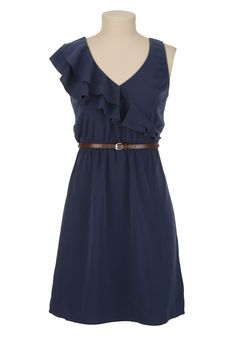 Beautiful Navy! Belted Ruffle Front Tank Dress - maurices.com