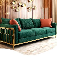 M A D U R A I - The Madurai sofa collection is coming soon, inspired by the ancient gold city of Madurai with its golden frame and opulent emerald suede fabric really is luxury living at its finest. Drawing Room Furniture, Drawing Room Interior, Sofa Furniture, Flat Interior Design, Luxury Homes Interior, Living Room Sofa, Living Room Decor, Oak Dining Sets, Metal Sofa