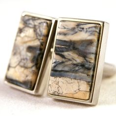 Cuff links   Siberian Fossil in Sterling Silver Bezel by dfuss, $125.00