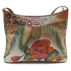 #Handbags - ANNA by Anuschka Small Shoulder Bag - Rose Butterfly - Buy New: $104.05 - $137.95