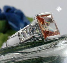 Ring, Zirkonia topas-weiß, Silber 925  Oberfläche anlaufgeschützt rhodiniert