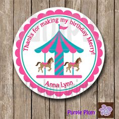 Personalized Carousel Party Favor Tag by PurplePlumPrintables