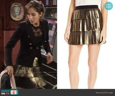 Lily's gold pleated skirt on The Young and the Restless.  Outfit Details: https://wornontv.net/66135/ #TheYoungandtheRestless