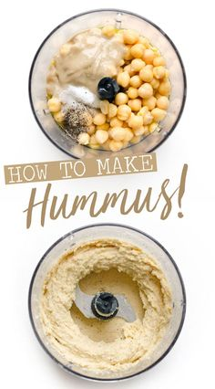 How to make hummus in the four best flavors: traditional hummus, roasted garlic hummus, chipotle hummus, and romesco sauce hummus! In just 5 minutes and with minimal ingredients, you can have smooth and creamy homemade hummus recipe. Healthy Hummus Recipe, Make Hummus, Vegan Hummus, How To Make Humus, Homemade Hummus Recipe, Homemade Chipotle, Gourmet Recipes, Vegetarian Recipes, Dinner Recipes