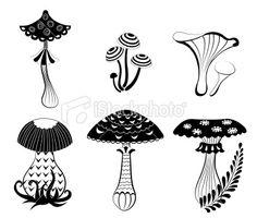 Set of silhouettes fantasy mushrooms. Royalty Free Stock Vector Art Illustration
