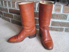Vtg Mens Size 9D FRYE Western Boots Motorcycle Riding Campus Cowboy Brown USA #Frye #CowboyWestern