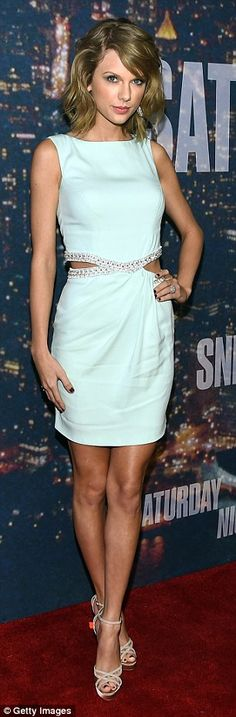 Style star: Taylor arrived at the Saturday Night Live 40th Anniversary Celebration at Rockefeller Center in New York City on Sunday