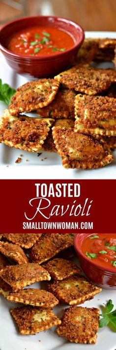Toasted Ravioli (A Delcious Easy St. Louis Tradition) - - Toasted Ravioli are seasoned breaded ravioli that are deep fried and served with marinara and a sprinkle of Parmesan cheese. Easy Appetizer Recipes, Yummy Appetizers, Appetizers For Party, Dinner Recipes, Party Snacks, Football Party Foods, Football Food, Best Superbowl Food, Ravioli Lasagne