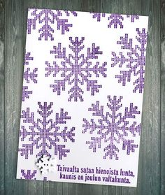 Neulotut hiutaleet Christmas Text, Wooden Snowflakes, Stamp, Ink, Personalized Items, Purple, Cards, Stamps, India Ink