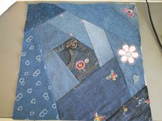 My Crazy Quilt Jeans quilt project - Again, the pocket is my favorite part. #7