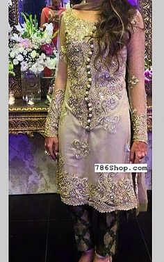 Grey/Green Chiffon Suit | Buy Pakistani Fashion Dresses and Clothing Online in USA, UK