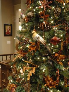 """brown, chocolate, copper and gold ornaments for the color theme of Christmas Tree. I like the leaves and pine cones and birds.... (link is bad... will have to find original link)"""