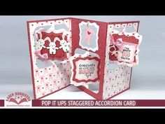 Karen Burniston teaches how to make a Staggered Accordion card. Full video tutorial. July 2016 Pop it Ups Designer Challenge #2: Stretch it Out! - I am not left-handed