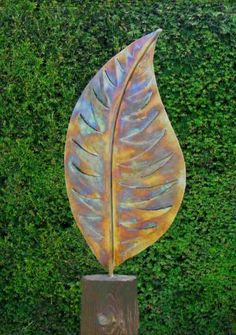 Stainless Steel / Wood Plinth Garden Or Yard / Outside and Outdoor #sculpture by #artist Peter M Clarke titled: 'Variegated Leaf Form (Big/Outsize stainless Steel garden sculptures)'. #art #sculptor #artwork #PeterMClarke