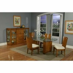 Embarcadero 5 Piece Dining Table Set with Tempered Glass Top in Golden Maple by Alpine Furniture. $1275.00. 174-21 / 174-24 Features: -Poplar solids and maple veneer.-Microfiber cushions.-Tempered glass top. Includes: -Set includes 1 dining table and 4 side chairs. Color/Finish: -Finish: Golden Maple. Assembly Instructions: -Assembly required. Warranty: -6 Months manufacturer's warranty.