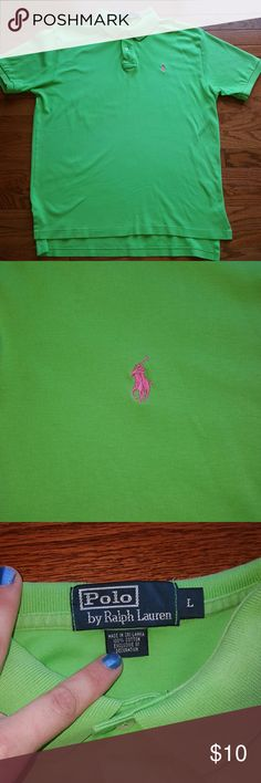 Polo by Ralph Lauren shirt EUC lime green polo with pink pony. Only flaw is shown in last picture. There is a tiny stitch coming out but would be super easy to fix. Smoke free and pet free home. Polo by Ralph Lauren Shirts Polos