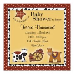 Cowboy or Cowgirl Baby Shower Invitation #babies #shower #invitiation #babyshower #animals #cowboy #art #funny #cute #zazzle