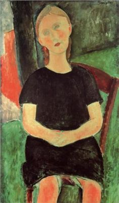 Seated Young Woman by Amedeo Modigliani, c.1918. Portrait. Expressionism.