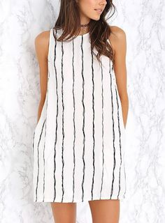 Aliexpress: Buy 2015 Women Shift Dress Sleeveless Stripes Mini Keyhole Back Loose Casual Pockets Effortless Shift Dress Vestidos Summer Style from Reliable dress pashmina suppliers on Charles Richards's store Straight Dress, Looks Style, Summer Dresses For Women, Cute Dresses, Vintage Dresses, Dress To Impress, Ideias Fashion, Fashion Outfits, Fashion Fashion