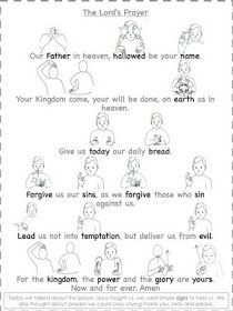 the Lord's Prayer- I'd love to have all children learn this, then present it to the congregation !Teaching the Lord's Prayer- I'd love to have all children learn this, then present it to the congregation ! Sign Language Words, Sign Language Alphabet, Learn Sign Language, Sunday School Lessons, Sunday School Crafts, Prayer Stations, Prayers For Children, Bible Activities, Preschool Bible