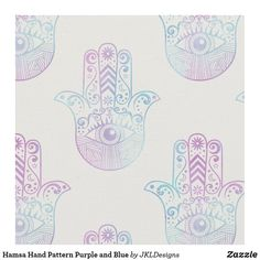 Hamsa Hand Pattern Purple and Blue Fabric Bohemian Fabric, Sewing Projects, Diy Projects, Hamsa Hand, Pigment Ink, Blue Fabric, Custom Fabric, Crafts To Make, Printing On Fabric