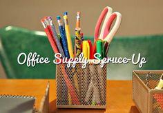 HGTV Crafternoon: DIY Office Supply Spruce-Up (http://blog.hgtv.com/design/2014/01/15/diy-office-supply-spruce-up/?soc=pinterest)
