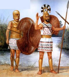 Spartan warriors of the Geometric Period with Dipylon shields (artwork by Richard Hook. Copyright: Osprey publishing).