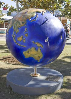 """decorated globe from """"Cool Globes: Hot Ideas for a Cooler Planet"""" international art exhibit of giant globes decorated on themes related to global warming"""