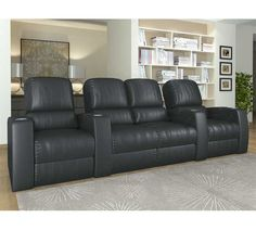 Octane Seating XL850 Storm Theater Seating with Manual Recline and Black Top Grain Premium Leather