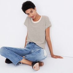 Limited edition and small batch, Rivet & Thread designs are future keepsakes crafted in LA from top-of-the-line fabrics. Take this striped tee, for example: Made of supersoft jersey, it is coolly slouchy and just-a-touch oversized—basically, the perfect vintage-inspired T-shirt. <ul><li>Oversized, ex-boyfriend fit.</li><li>Cotton.</li><li>Machine wash.</li><li>Made in the USA.</li><li>Madewell.com only.<&#...