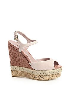 Gucci Hollie Suede Cork Wedge Sandals. O. M. G...... Love these. But the price!!!! Crazy.